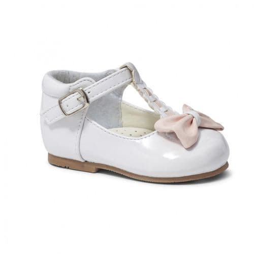 "Baby Girls Patent T-Bar Bow Shoes ""Emily White/Pink"""