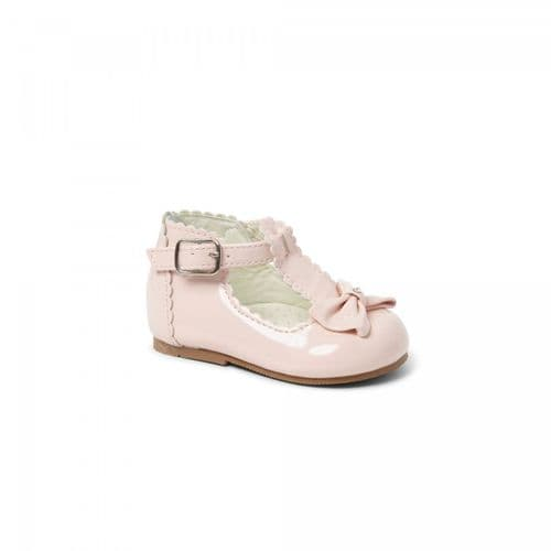 "Baby Girls Patent T-Bar Bow Shoes ""Sally Pink"""
