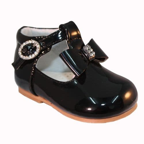 "Baby Girls Patent T-Bar Shoes with Diamante Buckle & Bow ""Lily Black"""