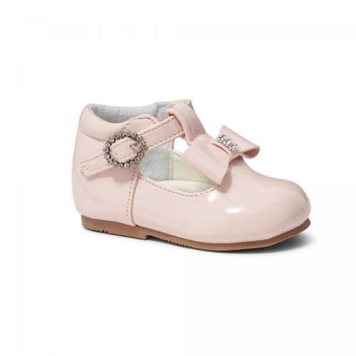 "Baby Girls Patent T-Bar Shoes with Diamante Buckle & Bow ""Lily Pink"""