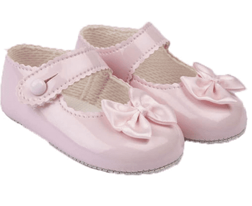"""Baby Girls Pram Shoes with Satin Bow """"B604 Pink"""""""
