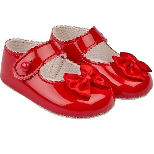 "Baby Girls Pram Shoes with Satin Bow ""B604 Red"""