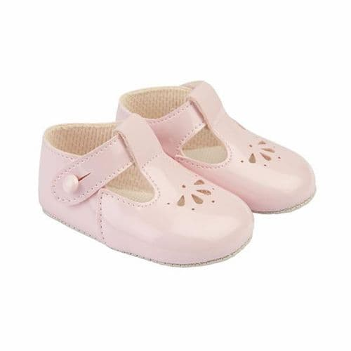 """Baby's T-Bar Patent Pram Shoes with Holes """"B617 Pink"""""""