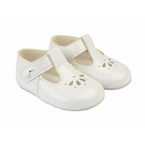 """Baby's T-Bar Patent Pram Shoes with Holes """"B617 White"""""""