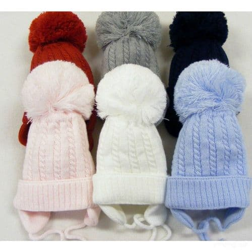 """Baby Unisex Big Pom Cable Knit Hat with Tie and Ear Flap """"KH010"""""""