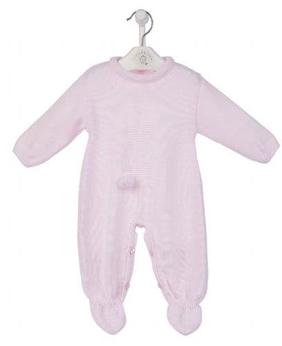 Dandelion  Stunning Baby Girl Pink  Bobtail Bunny Knitted Romper