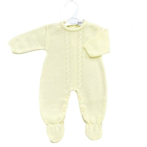 Dandelion  Stunning Baby Unisex Yellow Cable Knitted Romper