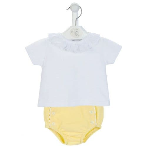 Gorgeous Baby Girl Frilly Top with Yellow Pants Perfect for Easter