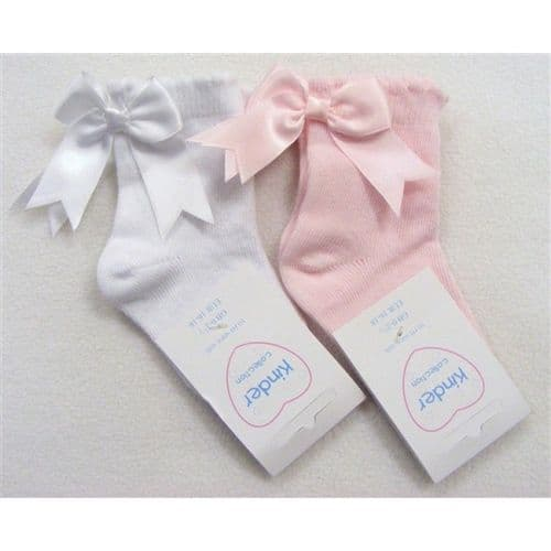 Gorgeous Baby Girl White Pink Socks with Satin Bow on the back