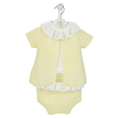 Gorgeous Baby Girl Yellow Knitted 3 Piece Outfit with Pants