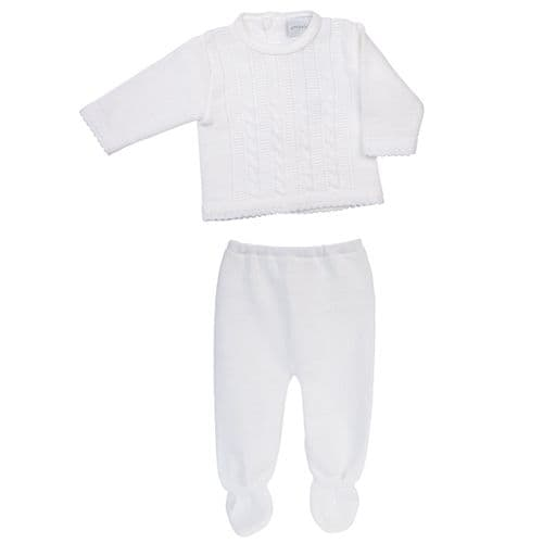 Gorgeous Baby Unisex Cable Knitted Top and Trousers Jumper Leggings