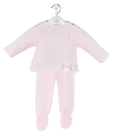 New Arrival Gorgeous Baby Girl Pink Knitted Top and Trousers Pink Bow