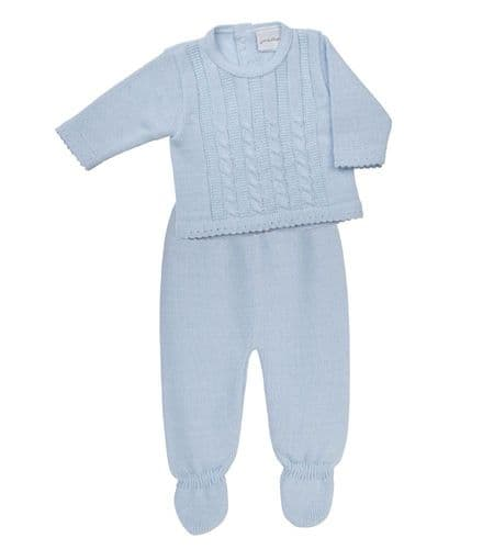 New Arrival Stunning Baby Blue Cable Knitted Top and Trousers Jumper Leggings