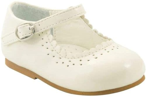 "NEW Baby Girls Patent Bar Shoes ""Emma Cream"""