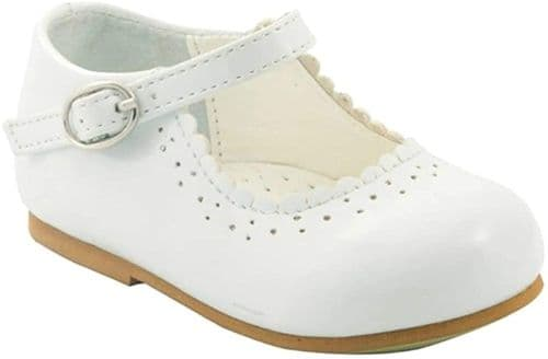 "NEW Baby Girls Patent Bar Shoes ""Emma White"""