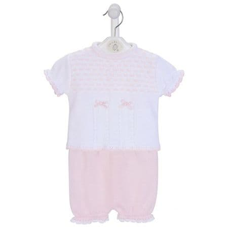 New Gorgeous Baby Girl Pink Dash Knitted Top Bloomer Set