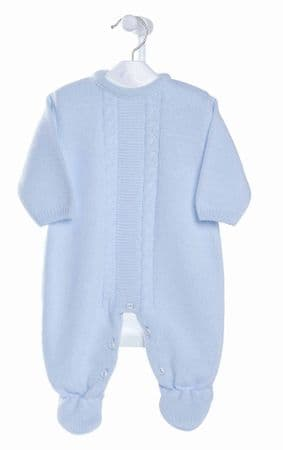 Stunning Baby Boy Blue Cable Knitted Romper Long Sleeve All in One Soft Cozy
