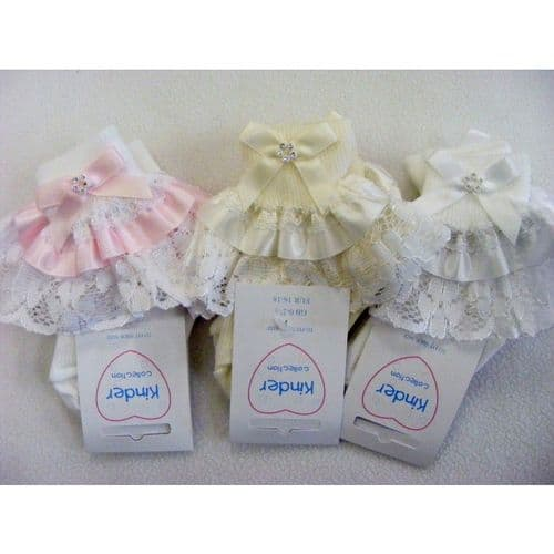 Stunning Baby Girl Frilly Socks with Diamante Buckle Bow Nice Frilly Lace Trimmings