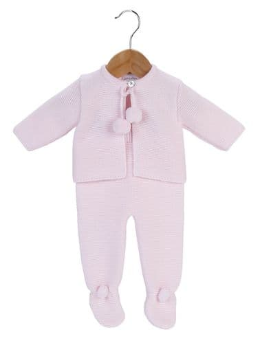 Stunning Baby Girl Long Sleeve Pink Pom Pom Jacket &Trousers Set