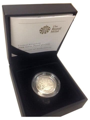 2008 Silver Proof One Pound Coin - Royal Arms