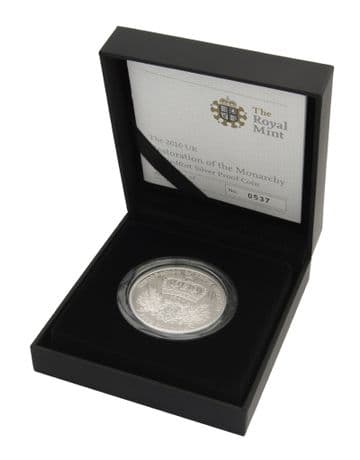 2010 Silver Proof Piedfort £5 Restoration Of The Monarchy