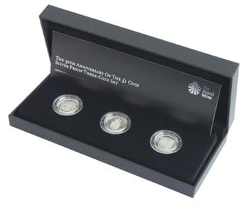 2013 UK Silver Proof 30th Anniversary of the One Pound Coin Royal Arms Silver Set