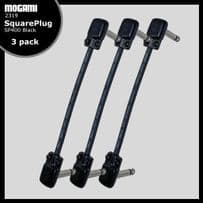 3 Pack Mogami 2319 Pedalboard Patch Lead with SquarePlug SP400 Jacks - Choice of Length - BLACK