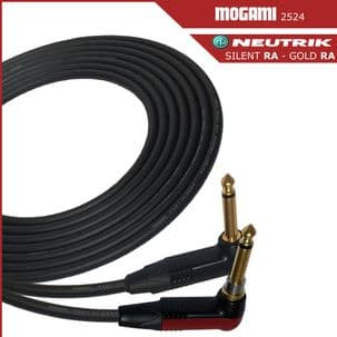 Mogami 2524 Guitar Lead - Instrument Cable with Neutrik Silent Right Angle to Gold Right Angle jacks