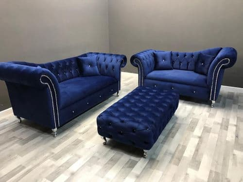 3+2 Royal Blue Chesterfield Set