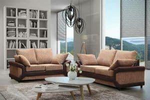 Blush 3+2 Beige/Brown Full Back Fabric Sofa Set