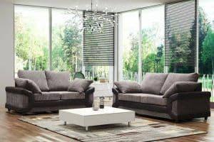 Blush 3+2 Grey/Black Full Back Fabric Sofa Set