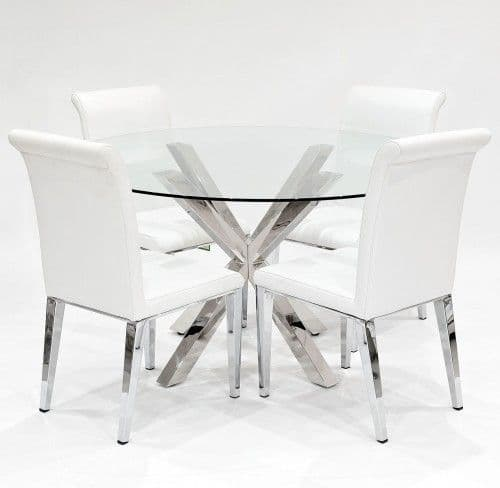 Clear Glass Crossley Round Dining Table With Scotland Dining Chairs
