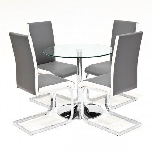 Clear Glass Dining Table With Benevento Dining Chairs