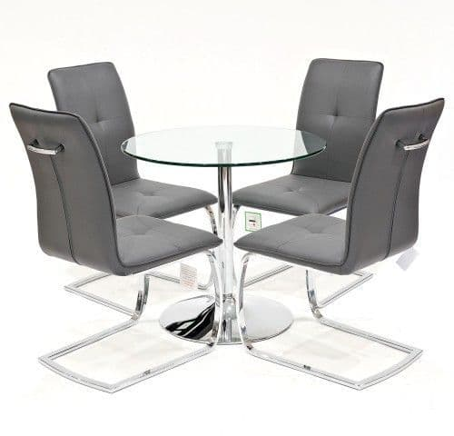 Clear Glass Dining Table With Huesca Dining Chairs