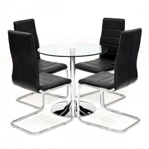 Clear Glass Dining Table With Salerno Dining Chairs