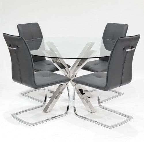 Clear Glass Round Crossley Dining Table With Huesca Dining Chairs