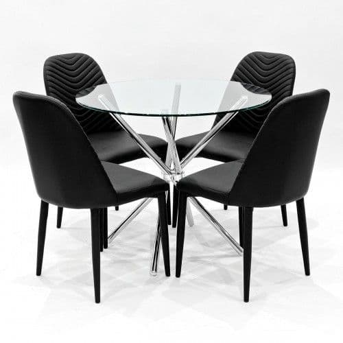 Clear Glass Round Crossley Dining Table With Stream Dining Chairs