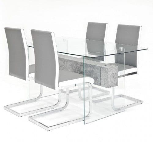 Clear Glasstone Dining Table With Benevento Dining Chairs