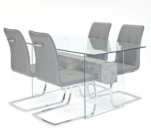 Clear Glasstone Dining Table With Huesca Chairs