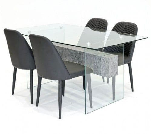Clear Glasstone Dining Table With Stream Dining Chairs
