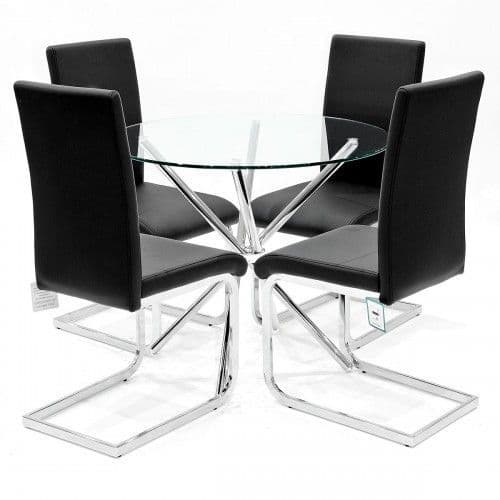 Criss-Cross Circular Glass Dining Set With Empoli Dining Chairs