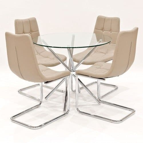 Criss-Cross Legs Clear Glass Round Dining Table With Benson Beige Dining Chairs
