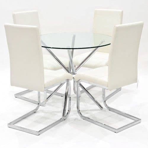 Criss-Cross Legs Dining Table With Benevento Dining Chairs