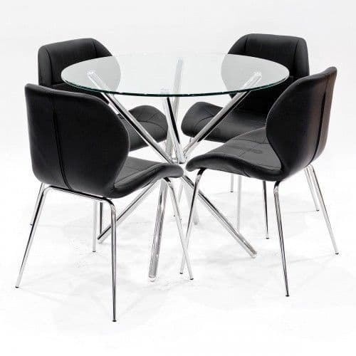 Criss-Cross Legs Round Clear Glass Dining Table With Black Dining Chairs