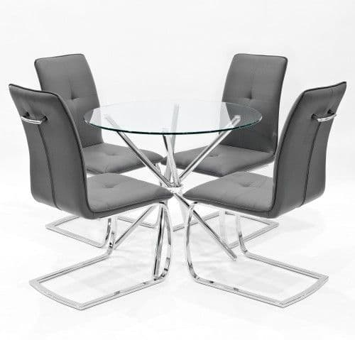 Criss-Cross Legs Round Glass Dining Table With Huesca Dining Chairs