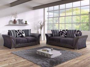 Eagle 3+2 Grey/Black Fabric Sofa Set