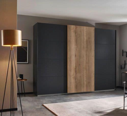 Elias Sliding Door Wardrobe In Stylish Dark Oak With Graphite Doors