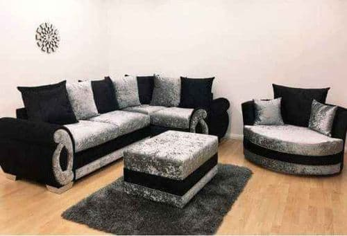 Eliza Corner + Cuddle Chair + Footstool - Black/Silver Velvet