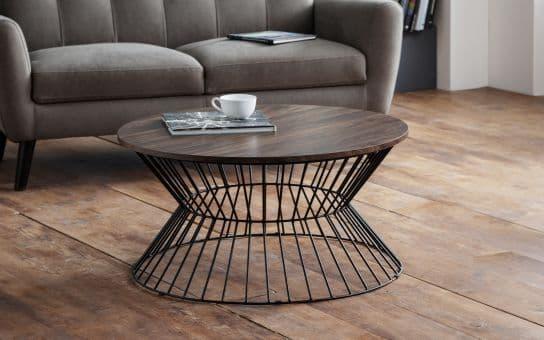 Francisco Round Wire Coffee Table- Walnut