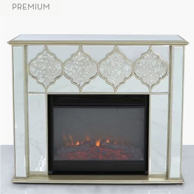 Gold Mirror Fire Surround with Electric Fire Insert